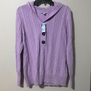 NWT-OLD NAVY CABLE KNIT HOODED SWEATER SIZE L